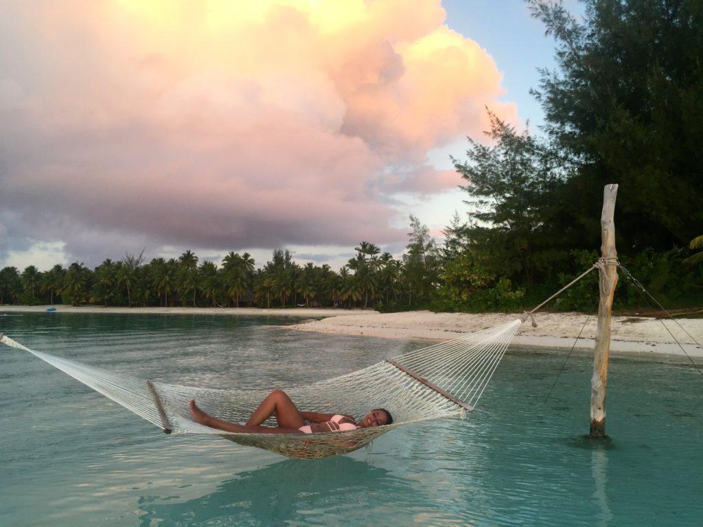 Girl In Hammock Bora Bora Tahiti